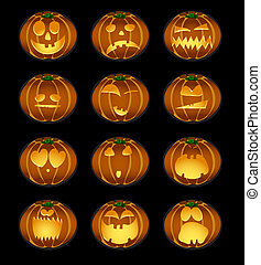 halloween - Vector illustration of set of pumpkin smiles on...