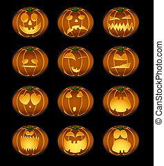 halloween - Vector illustration of set of pumpkin smiles on...
