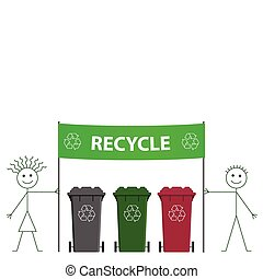 recycling banner - Stick man and woman holding green...