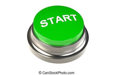 Button for Start. Green Start Button