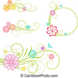Floral design elements - Floral frame and design elements...
