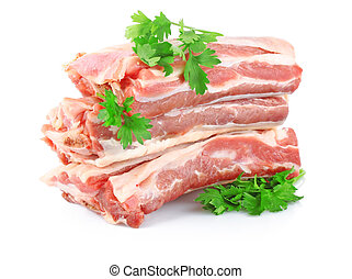 fresh raw meat with greens