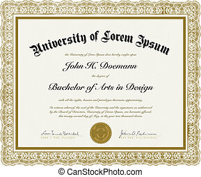 vector, florido, Diploma, frontera