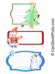 Christmas-tree-and-snowman - Vector illustration of three...