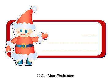 friendly Santa Claus - Vector illustration of red frame with...