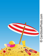 vacation - Vector illustration of umbrella, hat, flip-flops,...