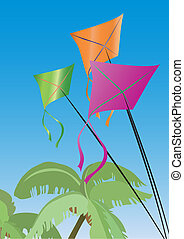 palms and colorful kites - Vector illustration of vacation:...