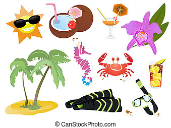 stock-vector-set-of-summer-elements - Vector illustration of...
