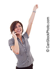 Business woman on the phone winning, isolated