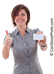 business woman holding blank business card - Portrait of...