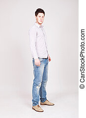 stylish young man standing - Full length portrait of a...