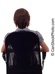 back of business woman on chair