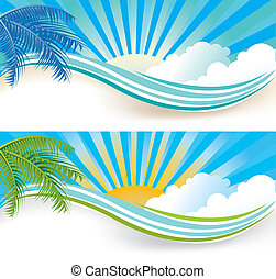 Summer banners - Summer banner set, vector illustration