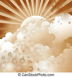 Cloudscape - Sepia cloudscape with flying birds, vector...