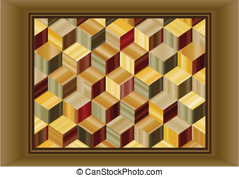 Marquetry - Vector illustration depicting a marquetry design...