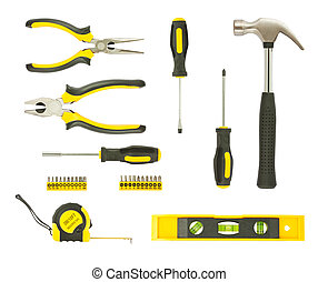 set of different tools isolated on white background