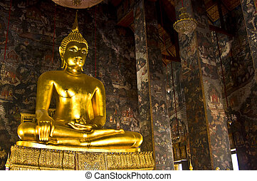Wat Suthat - huge buddha statue inside the viharn of Wat...