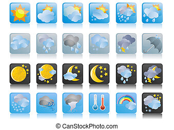 weather-blue-icons - Vector illustration of collection of...