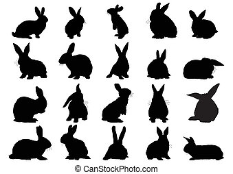 silhouettes of rabbits - Set of black silhouettes of rabbits...