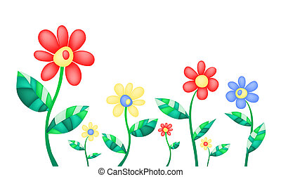 summer-flowers - Vector illustration of colorful summer...