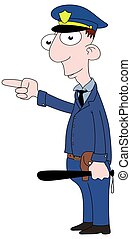 Cop pointing - Isolated cartoon Cop character