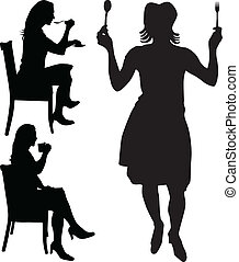 woman eat and drink vector