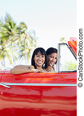 beautiful twin sisters in cabriolet car - young adult...