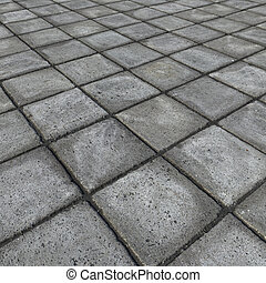 HD 3d render of square pavement tiles in gray stone concrete...