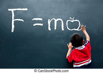 Newton Second law F=ma ( Apple ) - boy drawing F=ma on the...