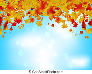 Autumn leaves on blue sky. EPS 8