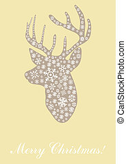 head of deer - Vector illustration of head of deer with text...