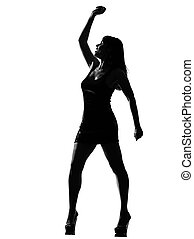 stylish silhouette woman dancing happy - stylish silhouette...