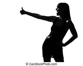 stylish silhouette woman laughing thumb up - stylish sexy...
