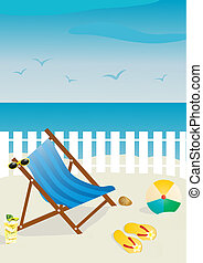 resort - Vector illustration of beach chair with sunglasses...