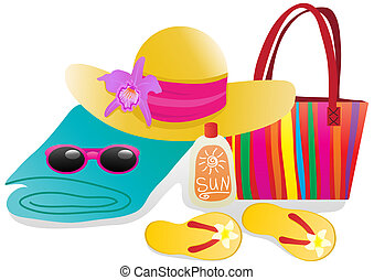 ready-for-vacation - Vector illustration of beach objects...