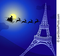 Santa in-France - Vector illustration of Santa Claus with...