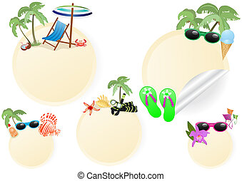 rest-and-travel-stickers - Vector illustration of rest and...