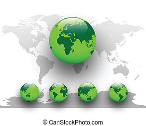 Green world, earth globe.