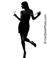 stylish silhouette woman partying drinking champagne -...