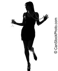 stylish silhouette woman partying drinking cocktail -...