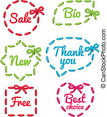 Selling tag set - Set of embroidered selling tags isolated...