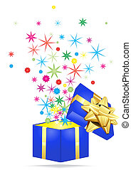 giftbox with stars - Vector illustration of holiday giftbox...