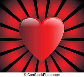 Love heart, red and glossy with red rays on black background