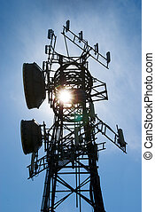 Cellphone antenna tower - Modern cell and antenna with flat...