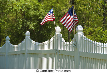 White picket fence on july fourth