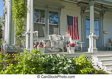 House porch on 4th of july - Quaint outdoor porch decked out...