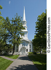 New england church - Old white new england church located on...