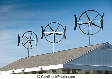 Small wind turbines located on gasoline station roof