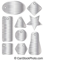 Brushed metal tags silver