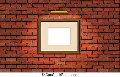 Old brick wall and wooden frame